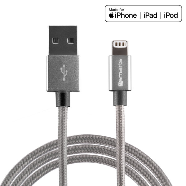 USB-A to Lightning Cable RapidCord MFi certified 2m grey