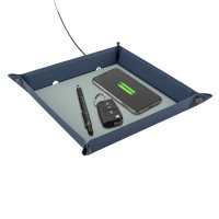 Pocket Tray Organizer with Wireless Charger 15W blue / light blue