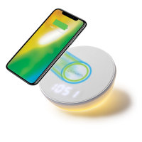 Wireless Charger VoltBeam N8 15W with Clock, LED Light,...
