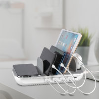 Charging Station Family Evo 63W with PD, Wireless Charger and Cables, grey / white