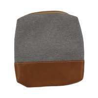 Packing Pouch Leather and Fabric slim 13x13x2 cm grey/cognac