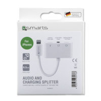 Active Audio and Charging Splitter Lightning to 2x Lightning and 3.5mm AUX white