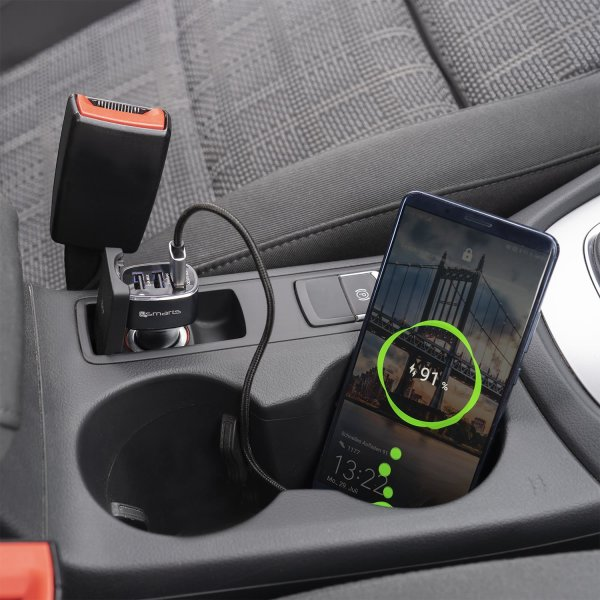 Kfz Ladegerät VoltRoad 7P+ 3-Ports mit Quick Charge, PD, Huawei Supercharge, schwarz