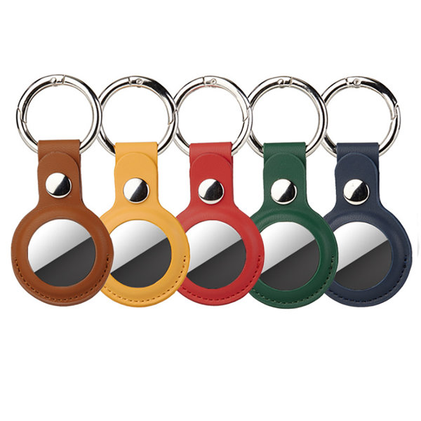 Leatherette Case Set for AirTags 5 pices (yellow, green, brown, red, blue)