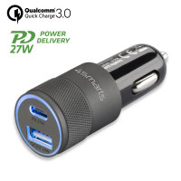 Car Charger Rapid+ 27W with Quick Charge, PD, grey / black