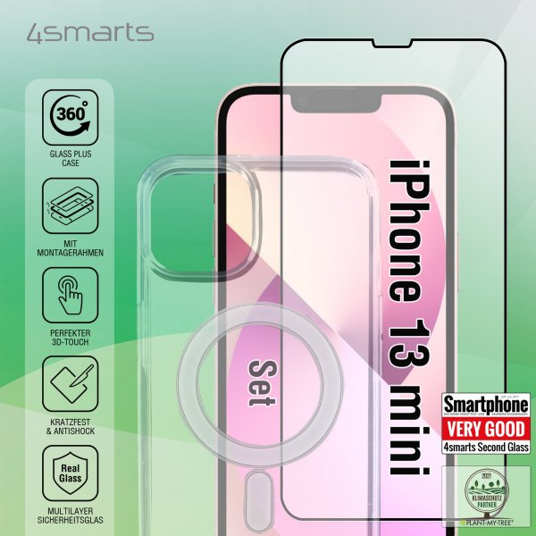 360° Starter Set with X-Pro Full Cover Glass, Mounting Frame and MagSafe Case for Apple iPhone 13 mini