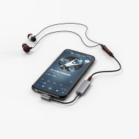 Active Audio and Charging Splitter SoundSplit Angled USB-C to USB-C and 3.5mm AUX gunmetal