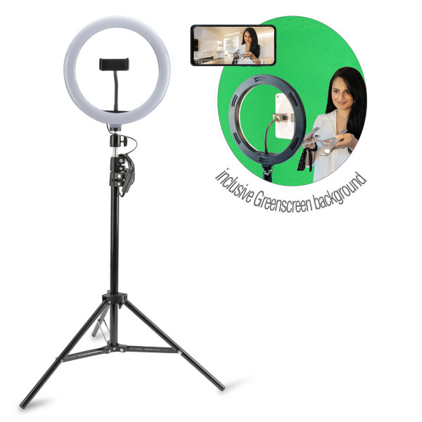 Tripod LoomiPod XL with LED Lamp and Green Screen for Smartphones black