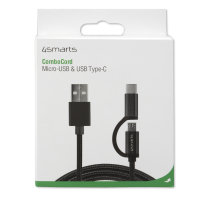 USB-A to Micro-USB and USB-C Cable ComboCord 1m fabric black
