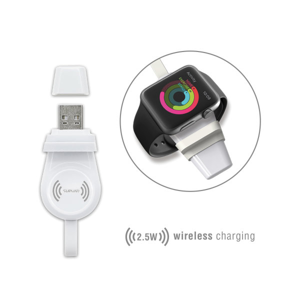 Wireless Charger VoltBeam Mini 2.5W for Apple Watch 1-6 / SE with USB-A Connector white