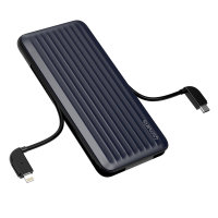 Power Bank iDuos 10000mAh 20W with PD, Integrated Cables, MFi certified, blue / black
