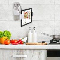 Wandhalterung ErgoFix H7 mit Tischhalterung für Smartphones und Tablets silber