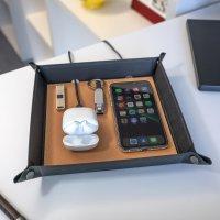 Taschenleerer mit Wireless Charger 15W cognac