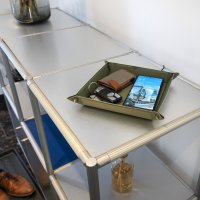 Pocket Tray Organizer with Wireless Charger 15W black / brown